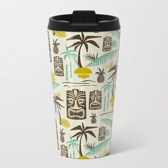 Island Tiki - Tan Metal Travel Mug