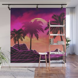 Pink vaporwave landscape with rocks and palms Wall Mural