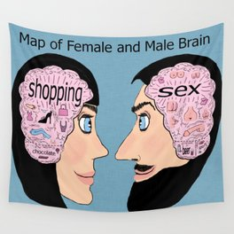 map of female and male brain Wall Tapestry