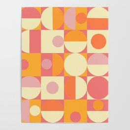 Thoroughly Modern Pink And Orange Geometric Design Poster