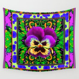 Modern Purple Pansy Organic Green Art Wall Tapestry