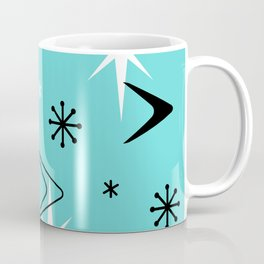 Vintage 1950s Boomerangs and Stars Turquoise Coffee Mug