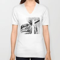 christ V-neck T-shirts featuring Christ statue by Vorona Photography