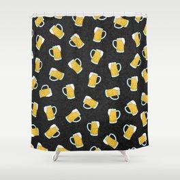 Artsy Modern Yellow Black Watercolor Beer Steins Shower Curtain