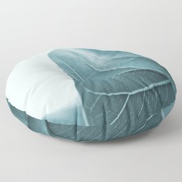 Teal Plant Leaves Floor Pillow