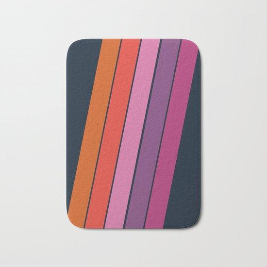Groovy - retro throwback 70s 1970s stripes beach 70's vibes minimal art Bath Mat