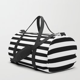 Midnight Black and White Horizontal Deck Chair Stripes Duffle Bag