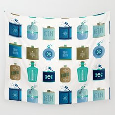 Flask Collection – Blue and Tan Palette Wall Tapestry