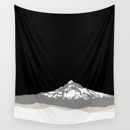Snow Capped Mountain Landscape - Black and White Wall Tapestry