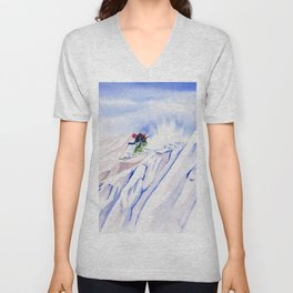 Powder Skiing Unisex V-Neck