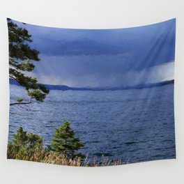 Rain on Yellowstone Lake Wall Tapestry