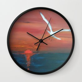 Seagull flying with Peace and Love Wall Clock