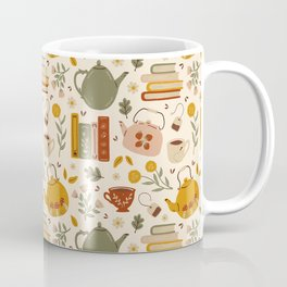 Flowery Books and Tea Coffee Mug