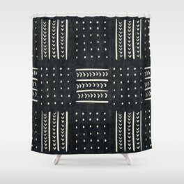 Mud cloth in black and white Shower Curtain