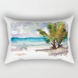 Palms on a beach Rectangular Pillow
