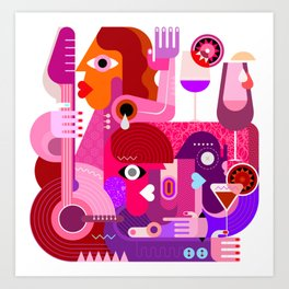 Cocktail Party People Art Print