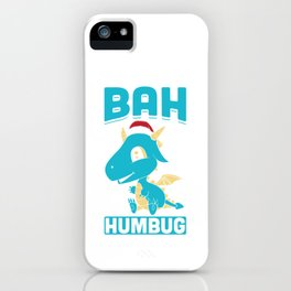 Bah Humbug Dragon Santa Hat Funny Grumpy Scrooge Humor Pun Cool Gift Design iPhone Case
