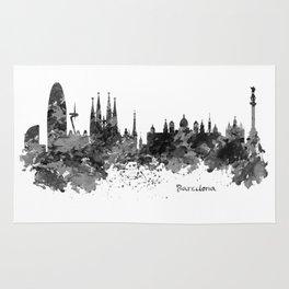 Barcelona Black and White Watercolor Skyline Rug