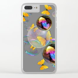 SURREAL YELLOW BUTTERFLIES & SOAP BUBBLES Clear iPhone Case
