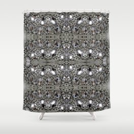 girly chic glitter sparkle rhinestone silver crystal Shower Curtain