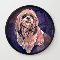 shih tzu Wall Clocks featuring shih tzu smile by elissa iatridis