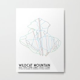Wildcat Mountain, NH - Minimalist Trail Art Metal Print