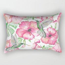Hibiscus + Hummingbirds Pink Rectangular Pillow