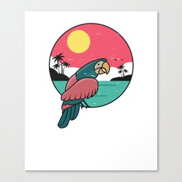 Vintage Tropical Parrot Cartoon Drawing  Canvas Print