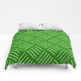 Abstract geometric pattern - green and white. Comforters