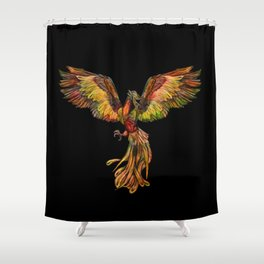 Phoenix Rising - on black Shower Curtain
