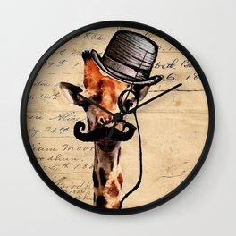 Giraffe Mustache Monocle Tophat Dandy Wall Clock