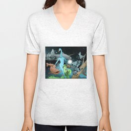 The Swan's Procession Unisex V-Neck