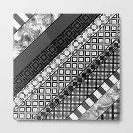 Black / white patchwork Metal Print