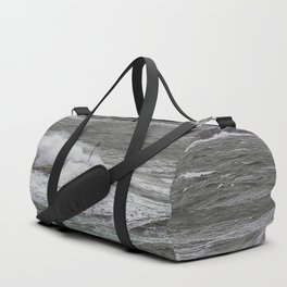 Waves crashing over the jetty Duffle Bag