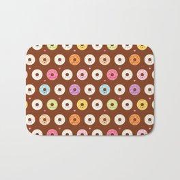 Kawaii Donuts Pattern on Brown Bath Mat