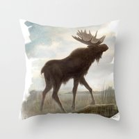 moose Throw Pillows featuring Moose by Alex Perkins