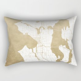Seattle White and Gold Map Rectangular Pillow