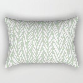 Light green herringbone pattern with cream stripes Rectangular Pillow