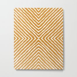 Boho Stripes Pattern (Gold and White) Metal Print