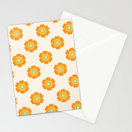 4 Sho - 70's retro 1970's throwback pattern floral flower motif decor hipster Stationery Cards