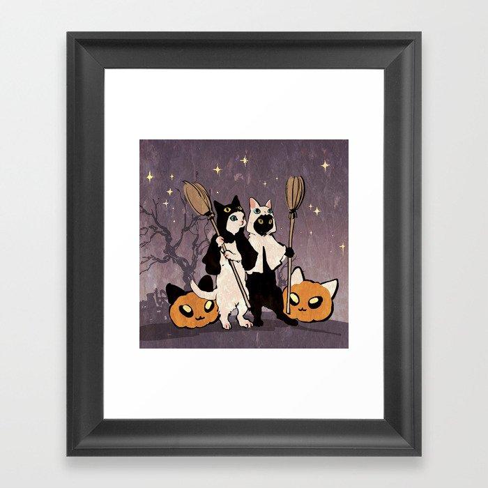 halloween cats Gerahmter Kunstdruck
