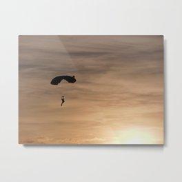Skydiving Sunset Metal Print