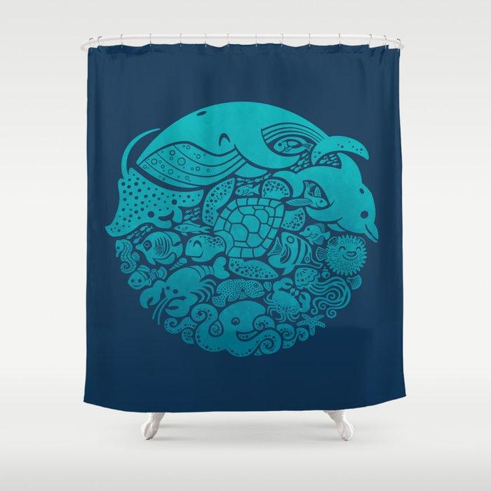 Aquatic Spectrum Shower Curtain By Waynem