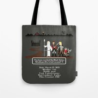 aragorn Tote Bags featuring Aragorn Trail by Drew Brockington