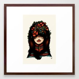 The girl who was thinking about geometry & red flowers Framed Art Print