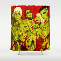 zombies Shower Curtains featuring SEXY ZOMBIES by Thomas B.- Rock Artwork