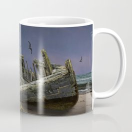 Moon and Wooden Shipwreck with Gulls Coffee Mug