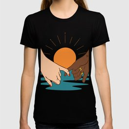A beautiful hand drawn pinky promise concept sunset sunrise summer beach pinky swear i swear print T-shirt