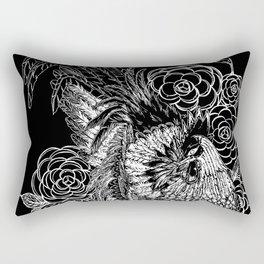 Rooster&Camellia Hat, White on Black Rectangular Pillow