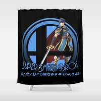 super smash bros Shower Curtains featuring Marth - Super Smash Bros. by Donkey Inferno